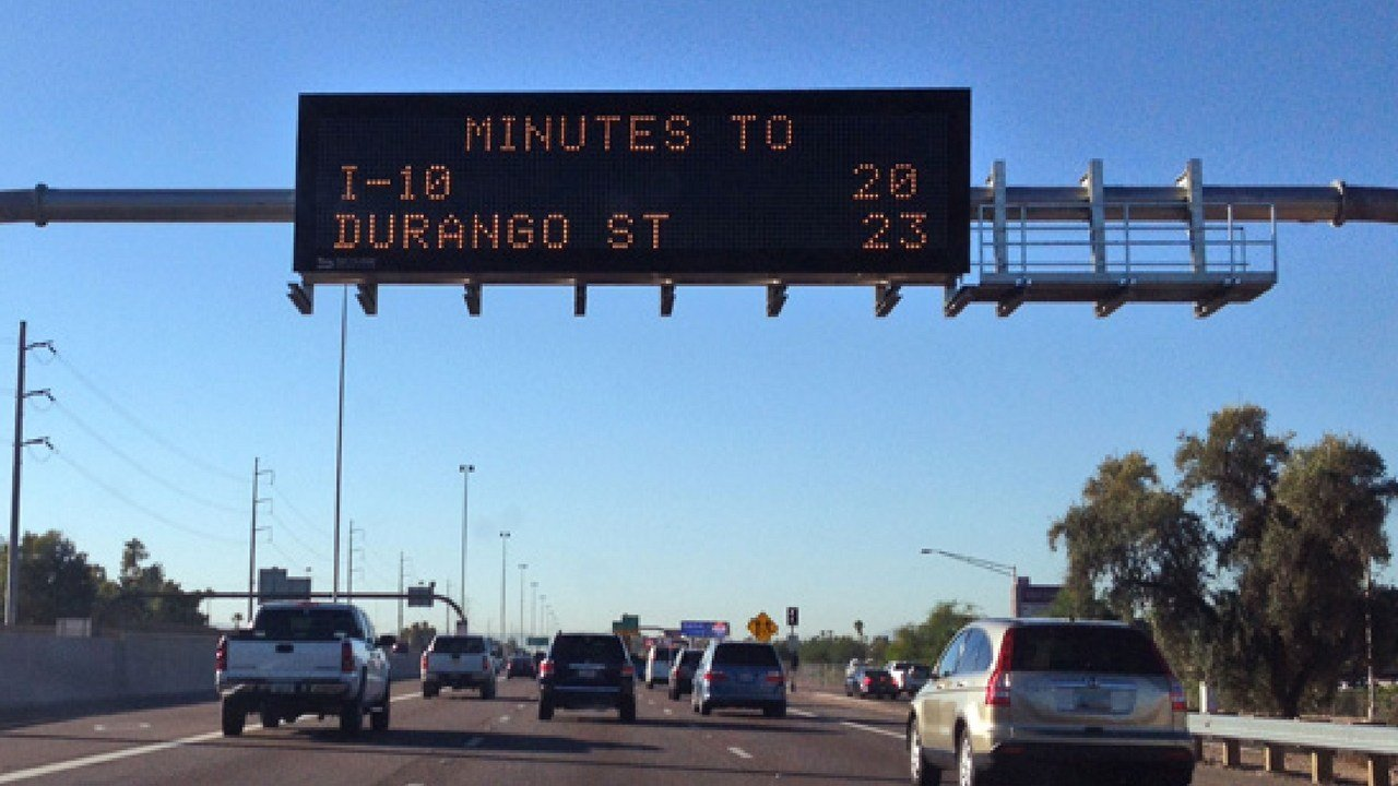 If you're heading to downtown Phoenix on east or westbound Interstate 10, you've probably noticed the estimated travel times are not being shown on Arizona Department of Transportation overhead message boards.(Source: ADOT)