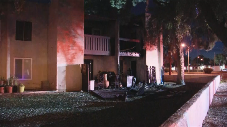 Four units were severely burned in a first-alarm fire near Hampton Avenue and Gilbert Road. (Source: 3TV/CBS 5)