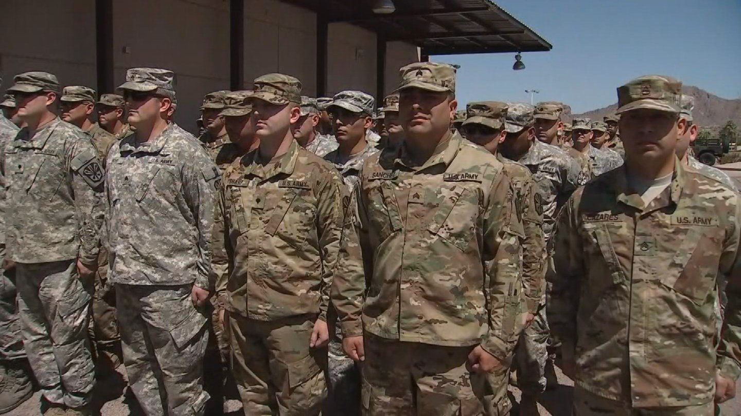 Arizona National Guard troops in Phoenix prepare to deploy to the US-Mexico border on Monday, April 9. (Source: 3TV/CBS 5)