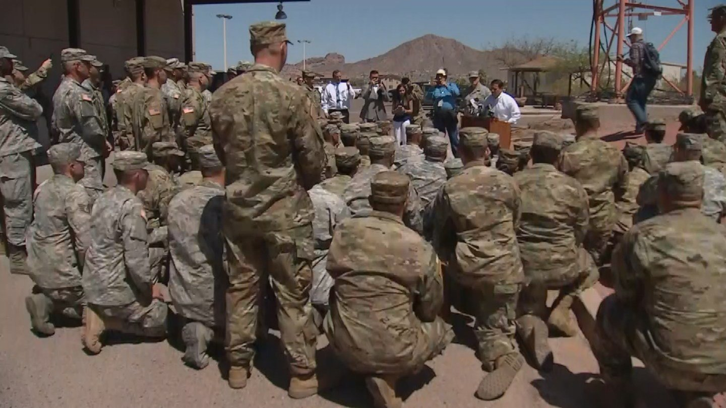 Gov. Ducey speaks to Arizona National Guard troops in Phoenix at they prepare to deploy to the US-Mexico border on Monday, April 9. (Source: 3TV/CBS 5)