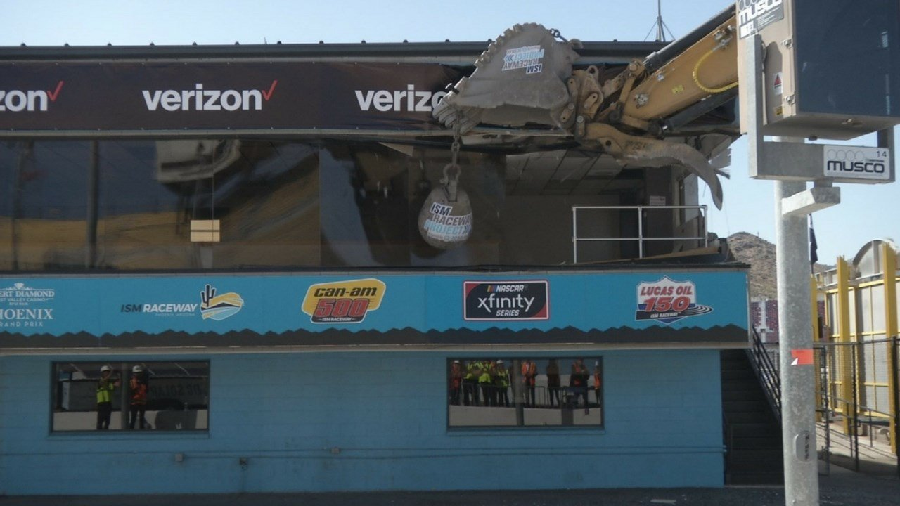 ISM Raceway has officially started its infield renovation with a bang, after a wrecking ball demolished the 6,000-square foot media center this morning. (Source: 3TV/CBS 5)