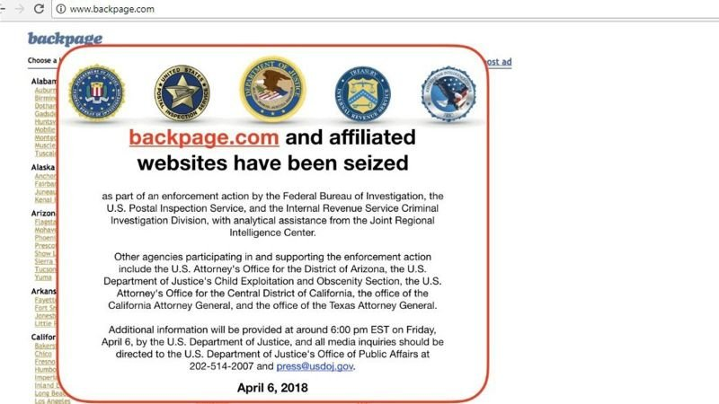 Justice Dept. seizes classified ads website Backpage.com and affiliated websites. (Source: CNN)