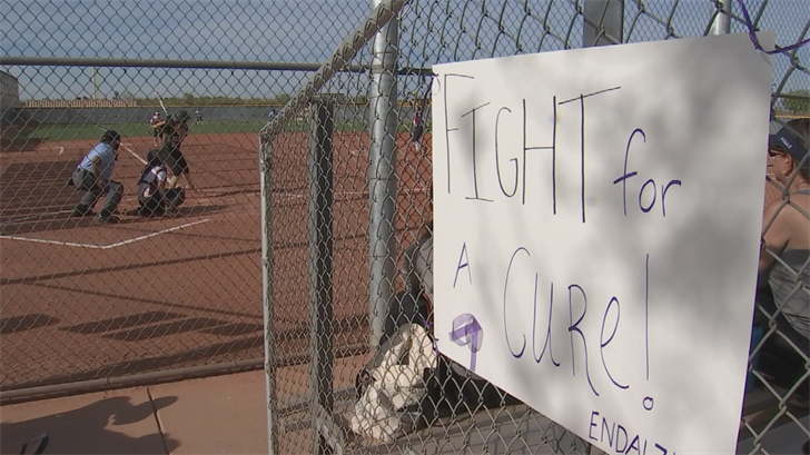 "In Friday's loss to Perry, she brought awareness to the cause and the theme was ""Strike Out Alzheimer's.""  (Source: 3TV/CBS 5)"