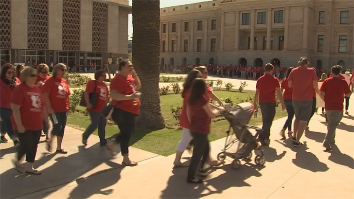 Approximately 800 educators from the Dysart and Peoria school districts took their professional development afternoon to the state Capitol on Monday. (Source: 3TV/CBS 5)