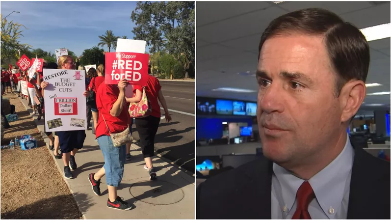 Another #RedForEd rally at KTAR Tuesday, April 10 (left) and Gov. Doug Ducey at 3TV/CBS 5 (Source: Steve Aron, 3TV/CBS 5 and 3TV/CBS 5)