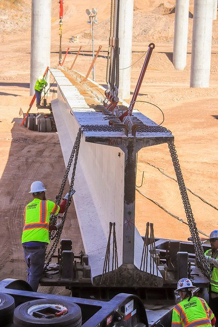 Each of the girders is 170 feet long and weighs 169,000 pounds. (Source: ADOT)