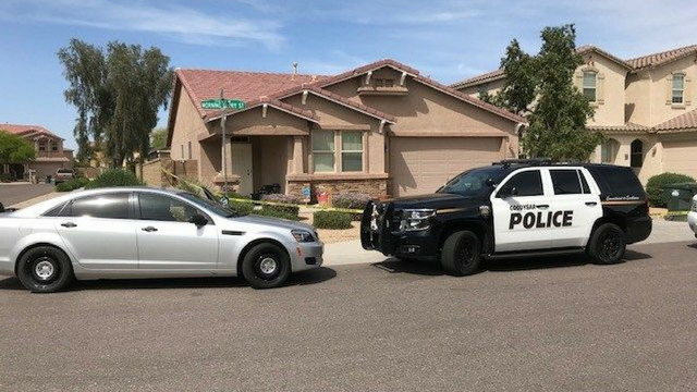 Goodyear police spent the day Wednesday collecting evidence at this home on Morning Glory Street after a man was shot and killed there on April 10. (Source: 3TV/CBS 5)