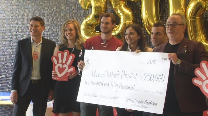 The Arizona Coyotes presented the check on Thursday to PCH. (Source: 3TV/CBS 5)