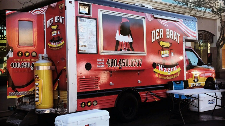 Two Arizona natives are enjoying business after they launched their Phoenix food truck on Friday the 13th exactly six months ago.(Source: Der Brat Wagen)