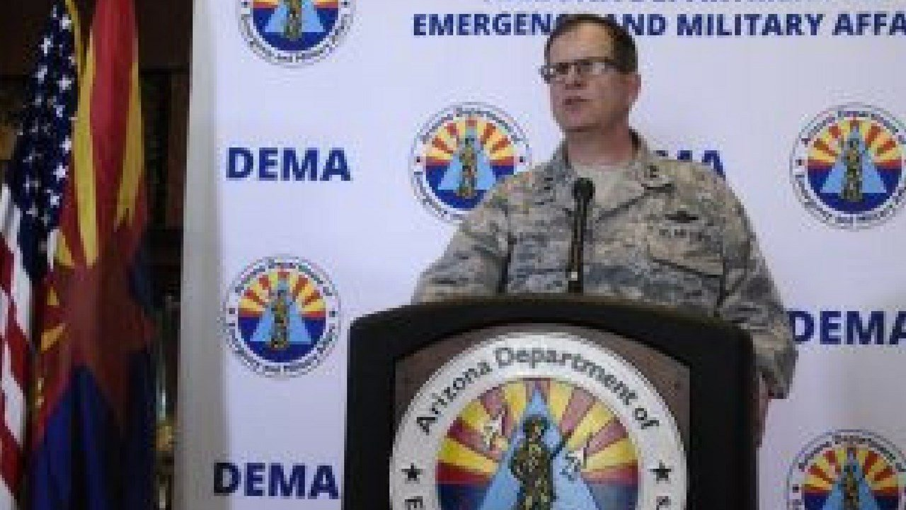 Maj. Gen. Michael McGuire, the Adjutant General of Arizona and Director of Arizona Department of Emergency and Military Affairs, briefed spoke to the press on Wednesday about Operation Guardian Shield. (Photo by Leah Goldberg/Cronkite News)