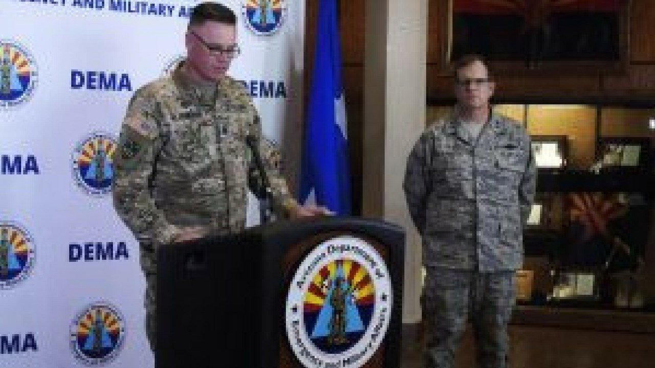 Capt. Aaron Thacker, Arizona National Guard Public Affairs Officer, announced details about Operation Guardian Shield. (Photo by Leah Goldberg/Cronkite News)