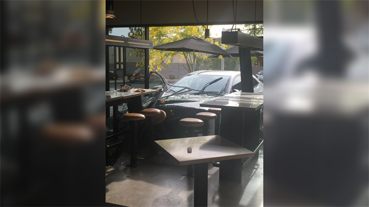A driver crashed into a Chipotle in Ahwatukee. (Source: Johnny Byrd)