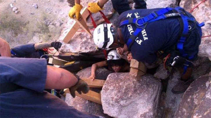 A 29-year-old woman was rescued from being stuck between boulders on South Mountain. (Source: Phoenix Fire Department)