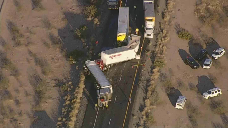 Fatal three semi pile-up crash closes portion of I-10 east