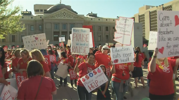 Democrats say they'd like fund teacher pay raises with new revenue sources, like eliminating corporate tax breaks. (Source: 3TV/CBS 5)