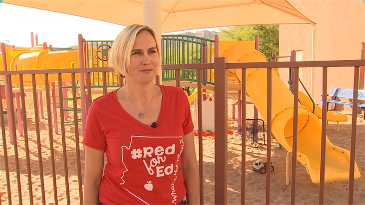 Meredith Scheerer said the support staff is left out of the pay increases in Ducey's plan. (Source: 3TV/CBS 5)