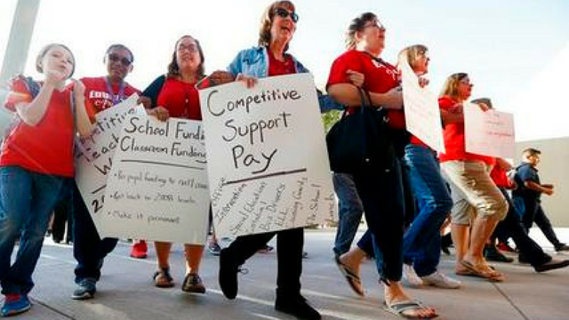 The walkout vote comes after Republican Gov. Doug Ducey offered teachers a 20 percent raise by 2020. (Source: AP Photo)