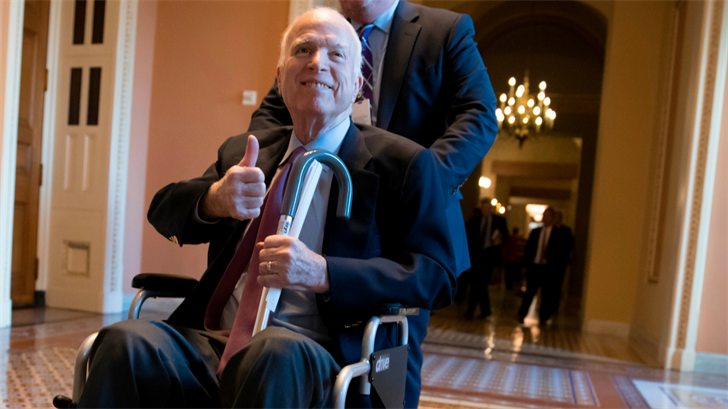 FILE - In this Dec. 1, 2017, file photo, Sen. John McCain, R-Ariz., leaves a closed-door session on Capitol Hill in Washington. (Source: AP Photo/J. Scott Applewhite, File)