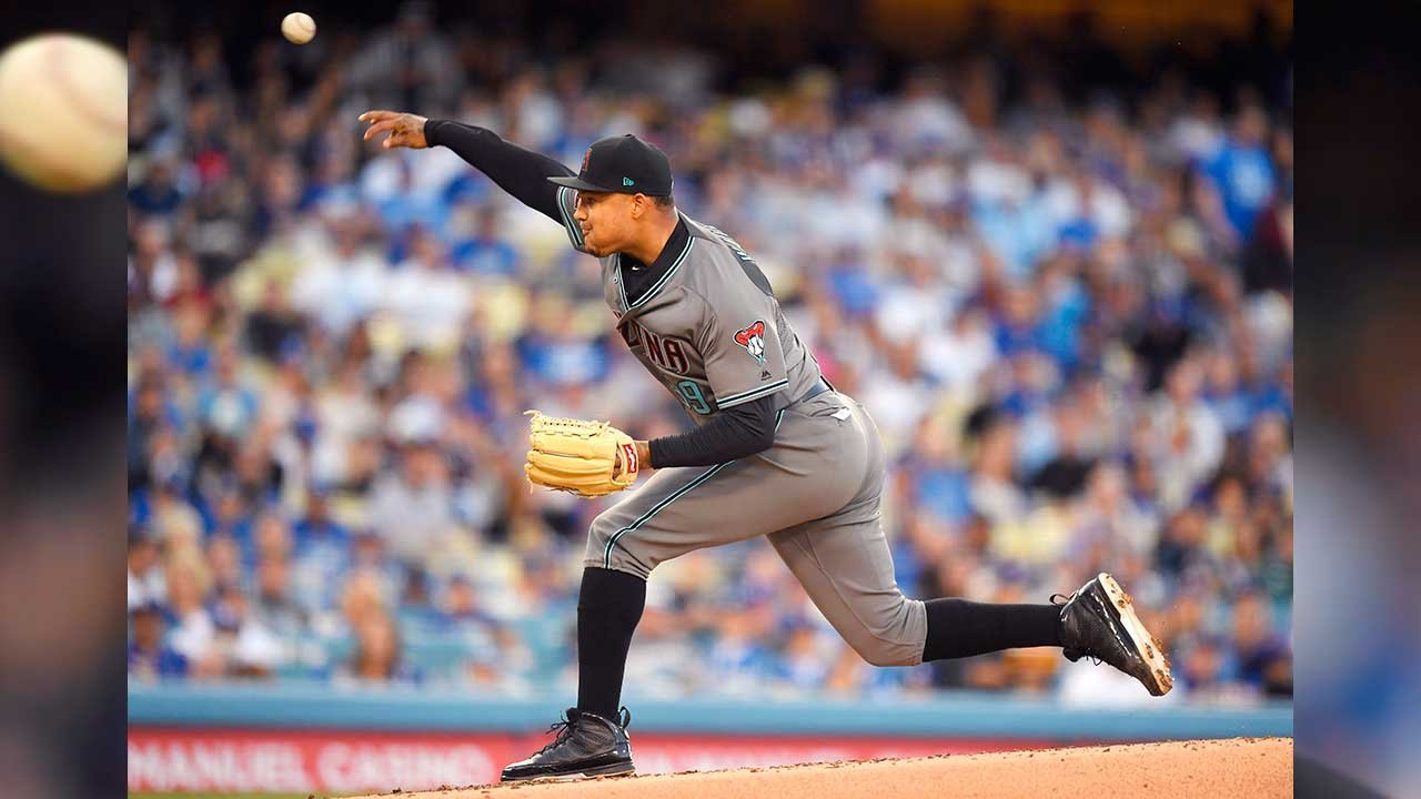 Arizona Diamondbacks starting pitcher Taijuan Walker throws to the plate during the first inning of a baseball game against the Los Angeles Dodgers, Saturday, April 14, 2018, in Los Angeles. (Source: AP Photo/Mark J. Terrill)