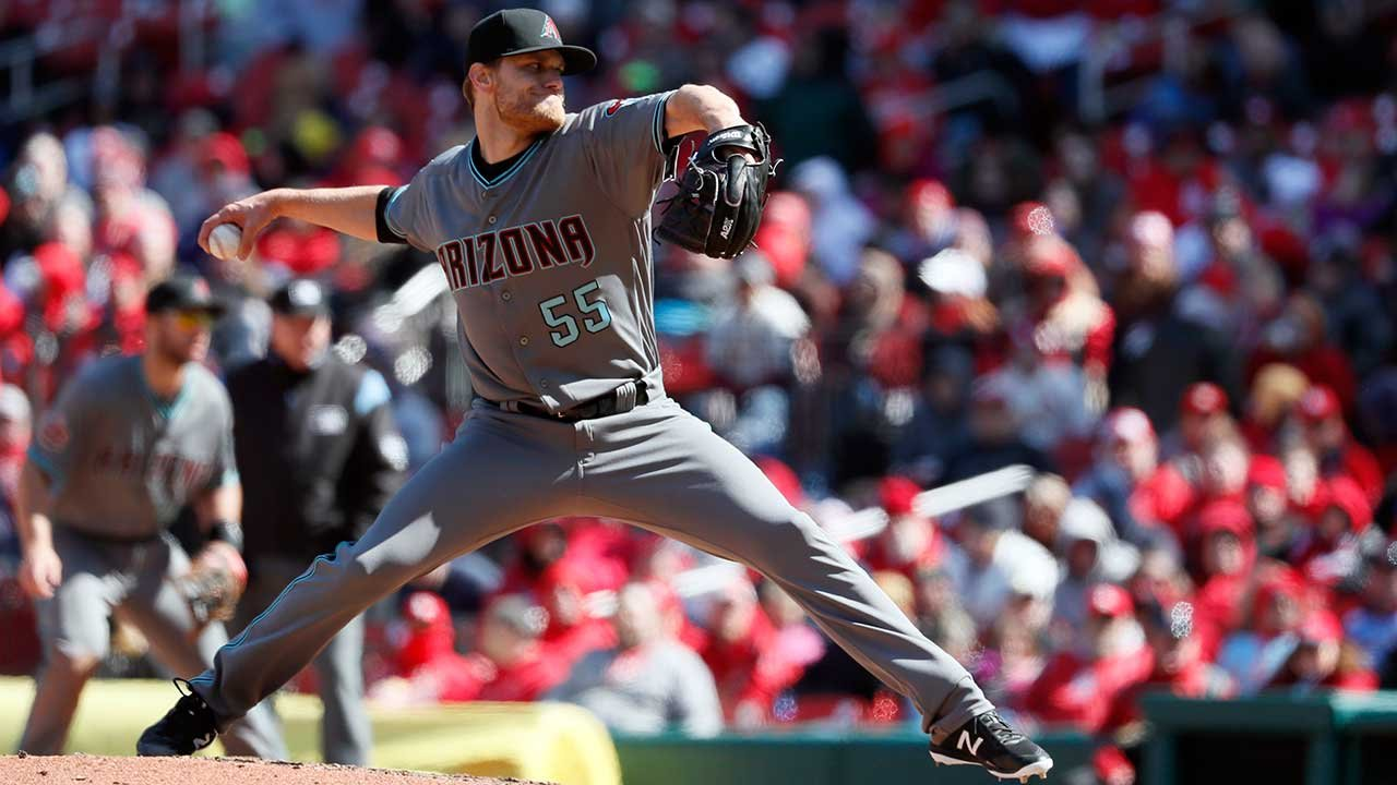 Arizona Diamondbacks relief pitcher Matt Koch throws during the sixth inning of a baseball game against the St. Louis Cardinals Saturday, April 7, 2018, in St. Louis. The Cardinals won 5-3. (Source: AP Photo/Jeff Roberson)
