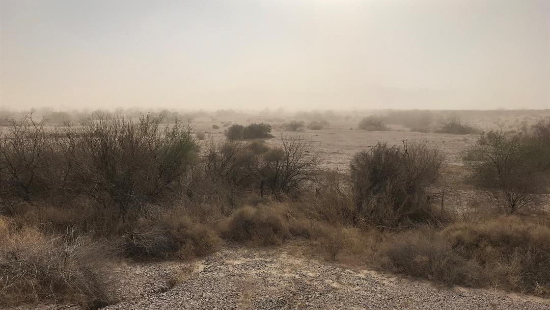 The wind picked up enough dust to obscure mountains in the distance from view, as seen from Highway 347 between I-10 and Maricopa. (Source: 3TV/CBS 5)