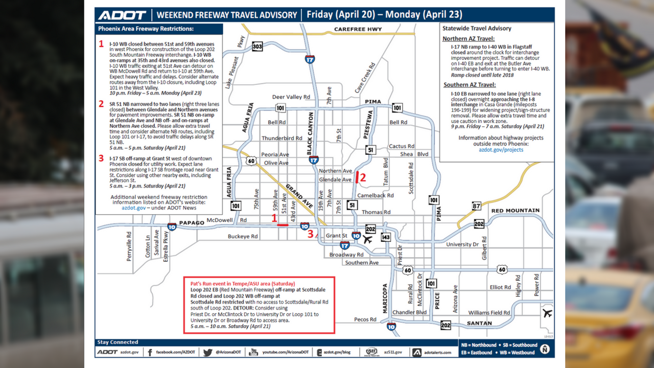 ADOT's Weekend Freeway Travel Advisory (April 20-23) (Source: Arizona Department of Transportation)