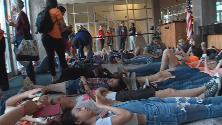 Last April, Arizona high school students occupied the House, Senate lobbies and Gov. Ducey's office for almost six hours to protest against gun violence. (Source: 3TV/CBS 5)