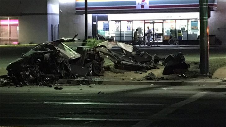 The man and driver's seat were ejected from the rest of the vehicle on impact. (Source: 3TV/CBS 5)
