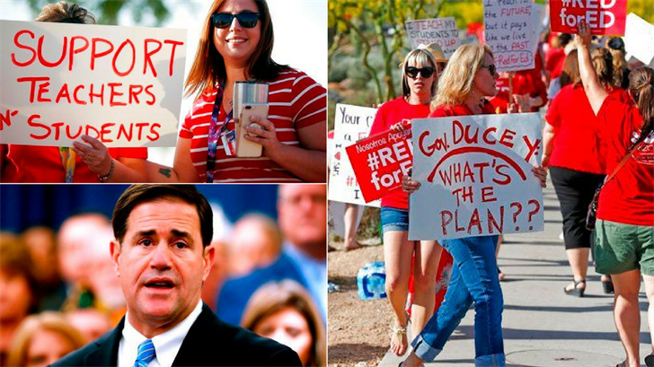 Tens of thousands of Arizona teachers are poised to walk off the job this week to demand more funding for public education, an unprecedented action in this conservative state without many union protections. (Source: AP Photo)