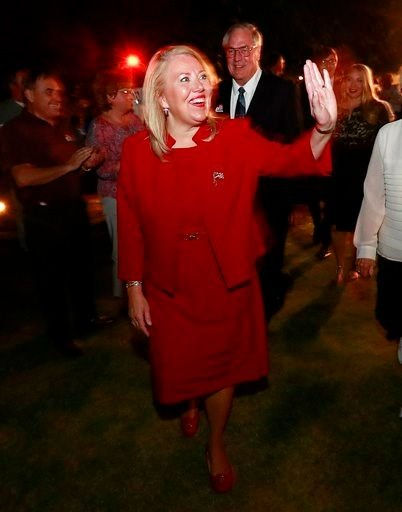 Republican U.S. Congressional candidate Debbie Lesko walks to the stage after her congressional win, Tuesday, April 24, 2018, at her home in Peoria, Ariz. Lesko ran against Democratic candidate Hiral Tipirneni. (Source: AP Photo/Matt York)