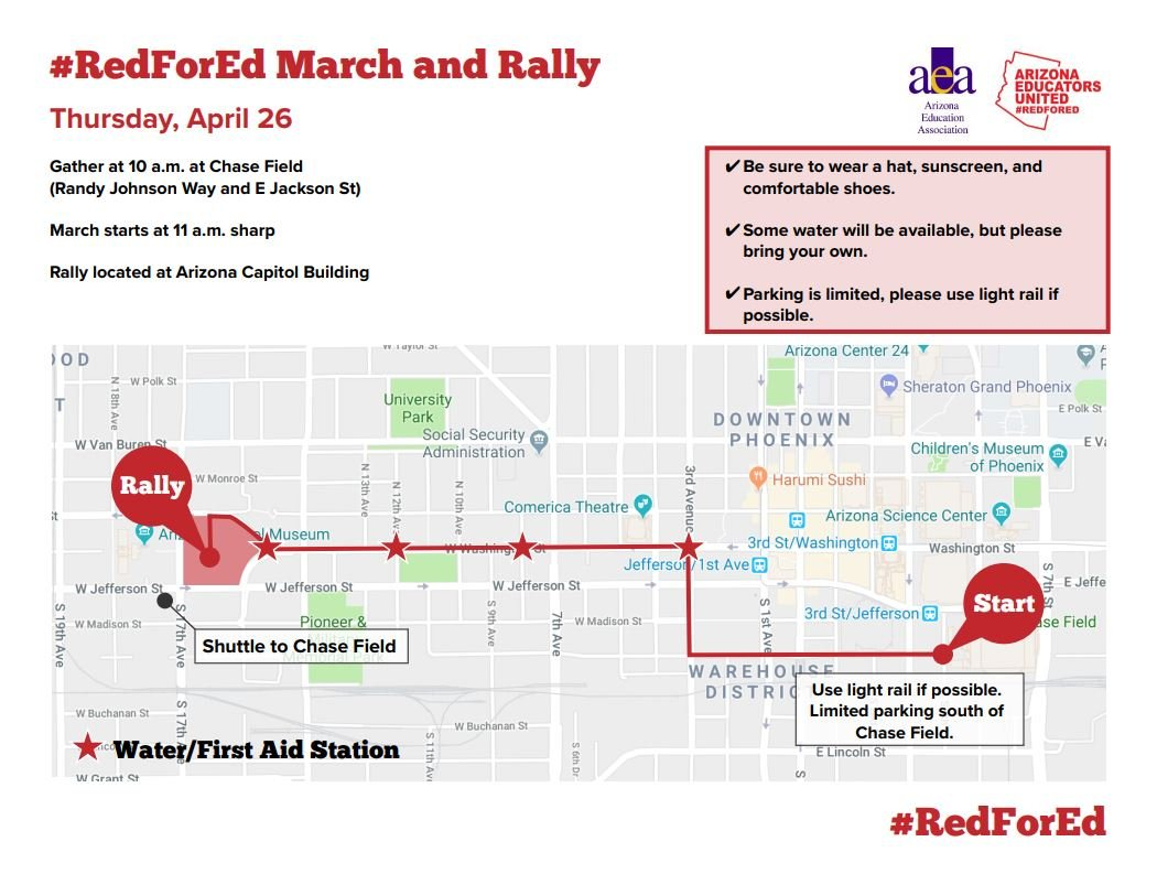 Route the teachers will take in their march to the capitol. (Source: American Education Association)