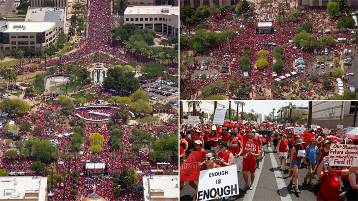 Tens of thousands march in the Red for Ed march. (Source: 3TV/CBS 5/AP)