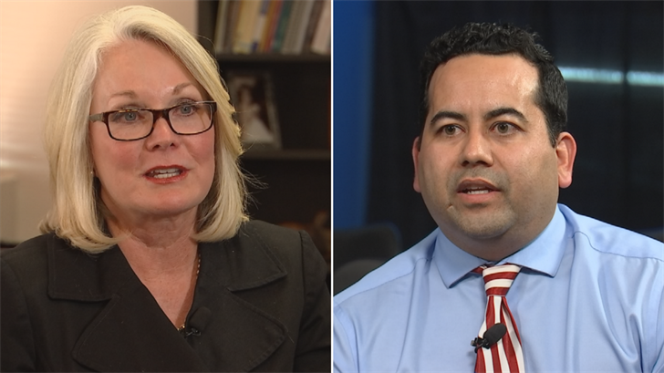 Kyrene School District superintendent Dr. Jan Vesely, left, and Valley district CFO Jeremy Calles, right. (Source: 3TV/CBS 5)