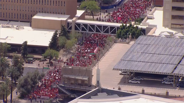 Teachers voted to walkout after Ducey unveiled his plan, saying that it failed to meet their other demands including about $1 billion to return school funding to pre-Great Recession levels and increased pay for support staff. (Source: 3TV/CBS 5)