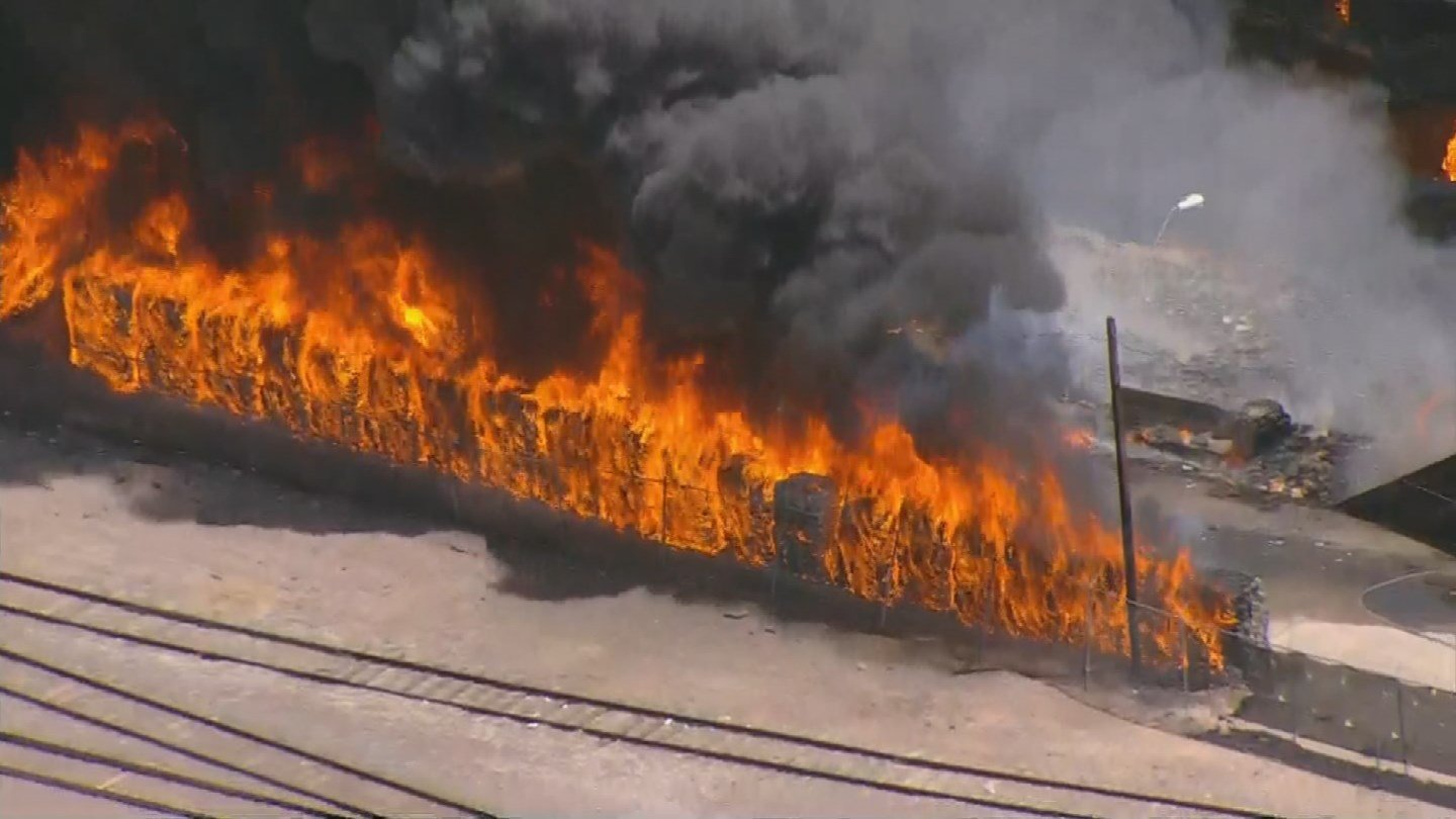 Bundles of material were burning at the plant. (Source: 3TV/ CBs 5 News)