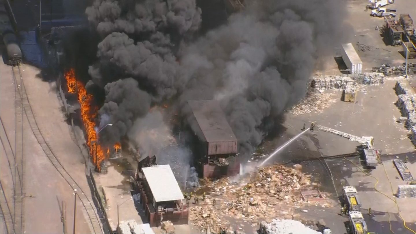 The railroad tracks nearby were closed as crews battled the blaze. (Source: 3TV/CBS 5 News)