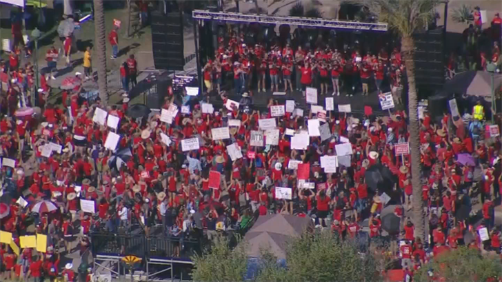Arizona teacher and supporters gathered at the Capitol for a rally on the second day of teacher walkouts. (Source: 3TV/CBS 5)