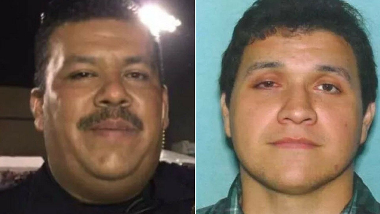 Police believe Officer Jesus Cordova (left) was shot by Tempe man David Murillo (right.)