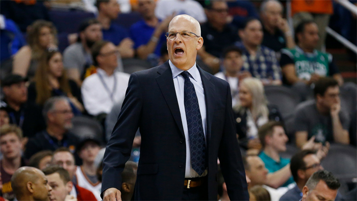Phoenix Suns head coach Jay Triano shouts at an official during the first half of an NBA basketball game against the Boston Celtics, Monday, March 26, 2018, in Phoenix. (Source: AP Photo/Ross D. Franklin)