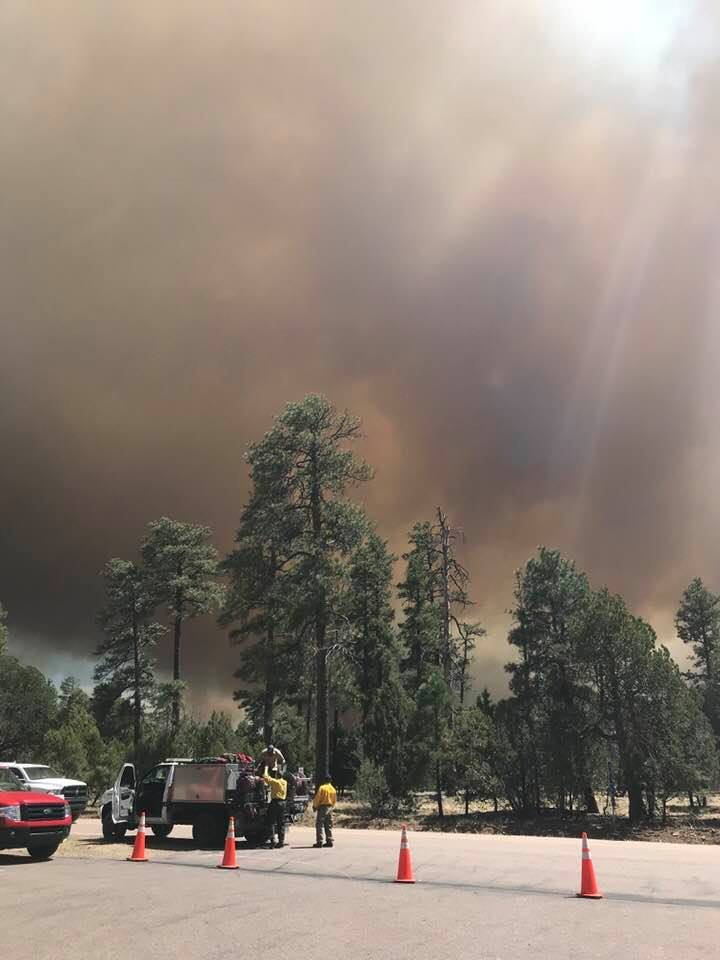 Strong winds are fanning the flames of the Tinder Fire and those winds are expected to continue through Tuesday, firefighters said. (Source: Arizona State Forestry)