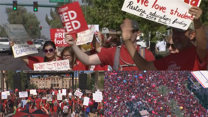 Arizona teachers will continue to wear red shirts and rally at the Capitol Monday morning for the third day of teacher walkouts. (Source: 3TV/CBS 5)