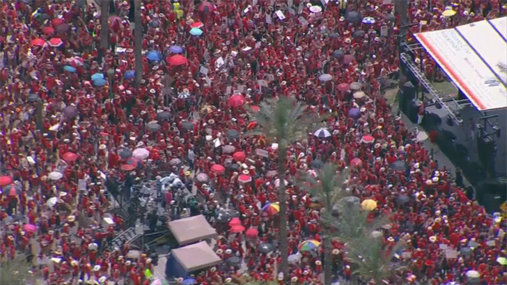 Republican Gov. Doug Ducey and GOP legislative leaders said Friday they had reached a budget agreement to boost teacher pay by 20 percent by 2020. (Source: 3TV/CBS 5)