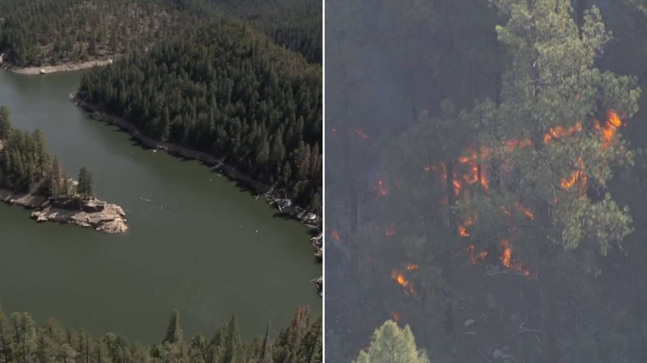A wildfire was burning 1.5 miles from the C.C. Cragin Reservoir. (Source: 3TV/CBS 5/SRP)