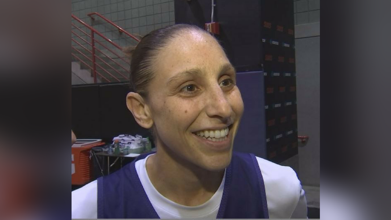 Diana Taurasi was on the floor as the Mercury opened training camp on Monday. (Source: 3TV/CBS 5)