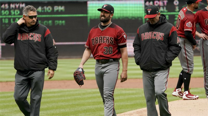 Arizona Diamondbacks starting pitcher Robbie Ray (38) leaves the game during the second inning of a baseball game against the Washington Nationals at Nationals Park Sunday, April 29, 2018, in Washington. (Source: AP Photo/Andrew Harnik)