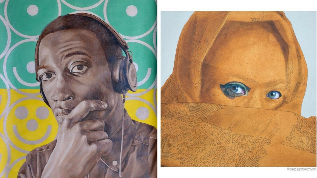 Papay Solomon - Left:  self portrait; Right: 'Inside the Lappa with Grace'