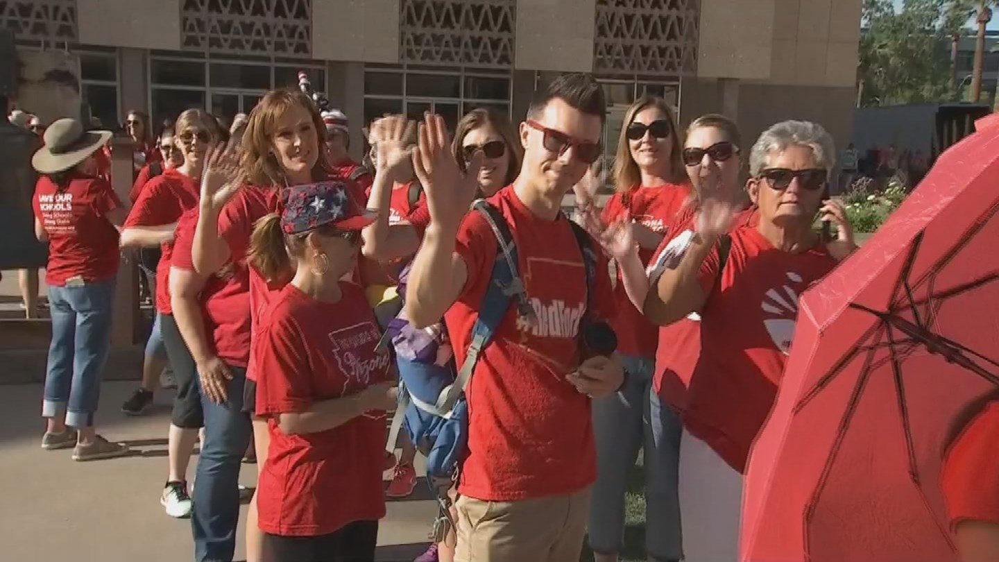 """Teachers gather at the Capitol on Tuesday for day 4 of the """"Red for Ed"""" walkout. (Source: 3TV/CBS 5)"""