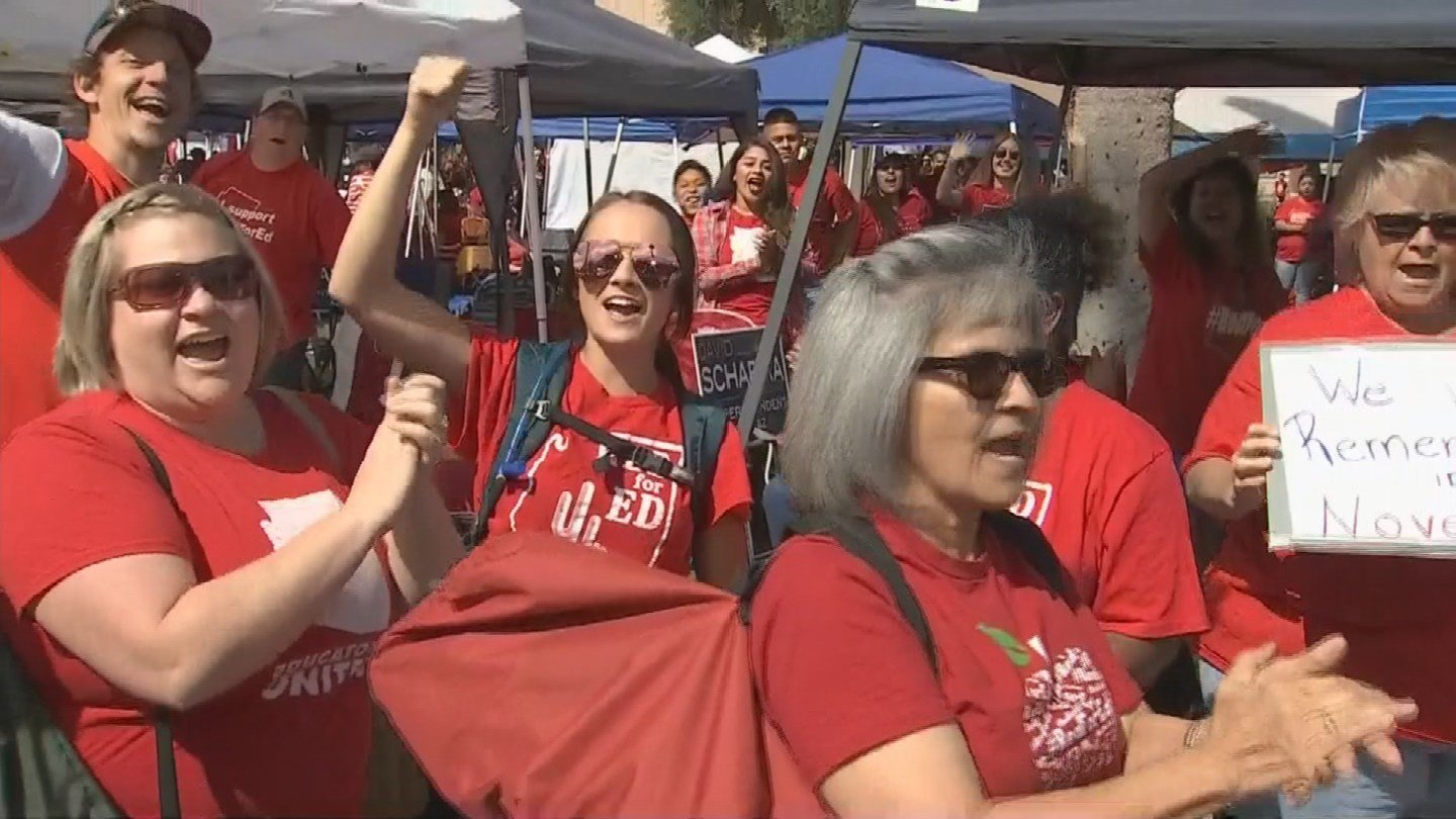 Arizona educators gathered Wednesday in their red T-shirts at the state Capitol for a fifth and final day. (Source: 3TV/CBS 5)