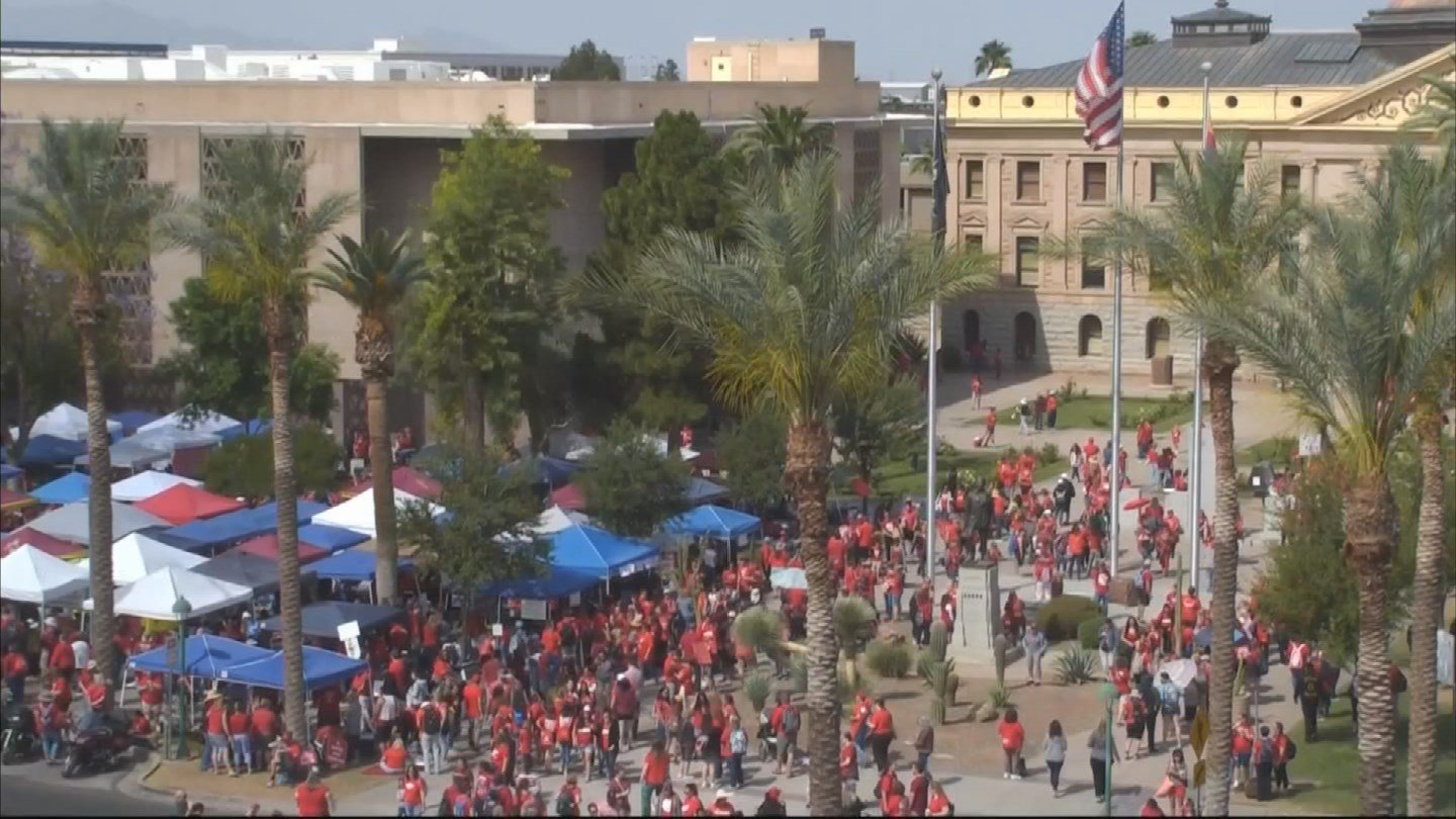 Teachers gather at the Capitol on Wednesday. (Source: 3TV/CBS 5)
