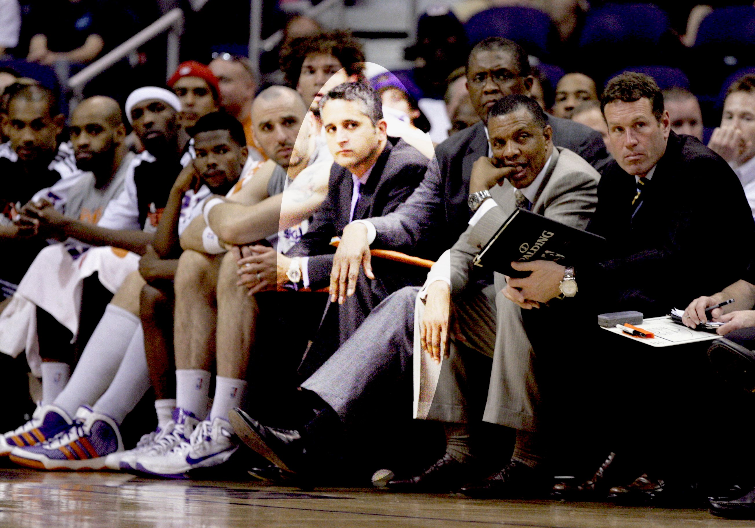 Igor Kokoskov, fourth from right, on the bench with former Phoenix Suns Alvin Gentry, second from the right, with assistant coaches Dan Marjerle, right, and Bill Cartwright, third from the right. (Source: AP Photo/Paul Connors)
